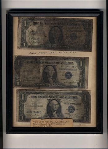Dollar Bills that Survived the Fire of 1953
