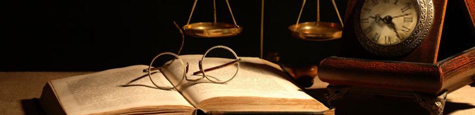 Law Book, Scales of Justice, Glasses and Clock